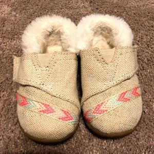 Toms Slippers Natural Metallic Burlap Youth 4 Girl